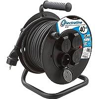 Electraline 20868129D Rallonge Prolongateur électrique IP44 Profesionnelle 40 m avec enrouleur Noir - Section 3G2,5 mm²