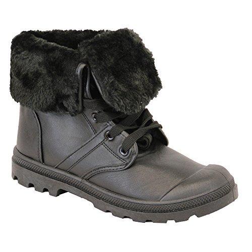 Chaussures Bottines pour Dames Militaire Hauteur Cheville Lacet Buckle Fourrue Hiver Décontracté