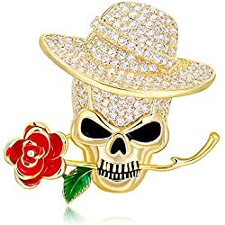 YMNL Broche Hombres y Mujeres Retro Europeo y Americano Cráneo Rosa Personalidad Exagerada, Retención del Color del Oro De Galvanoplastia, Broche De Circón De Cobre Puro Joyeria De Pin.