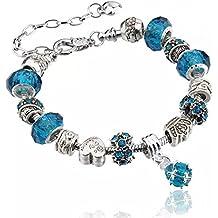 Bracciale in argento per ciondoli con perline in vetro di Murano, stile  europeo, 20