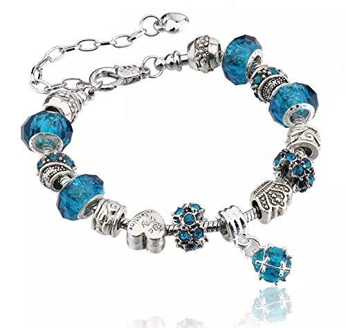 Bracciale in argento per ciondoli con perline in vetro di murano, stile europeo, 20 cm, compatibile con charm pandora e argento, colore: 1 light blue, cod. 1lightblue