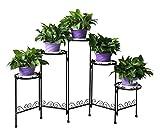 HLC 5 Pot Metall klassisch Pflanzer Blumentänder Blumentreppe, Schwarz für Indoor und Outdoor