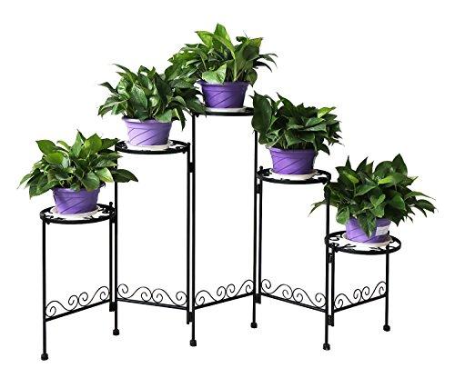 HLC 5 Pot Metall Klassisch Pflanzer Blumentänder Blumentreppe Schwarz für Indoor und Outdoor