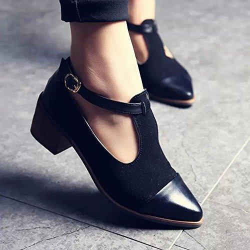 Longra Donna Solette sughero Tacchi alti sandali scarpe casual Nero