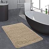 Paco Home Moderner Badezimmer Teppich Einfarbig Hochflor Badteppich Rutschfest In Beige, Grösse:80x150 cm