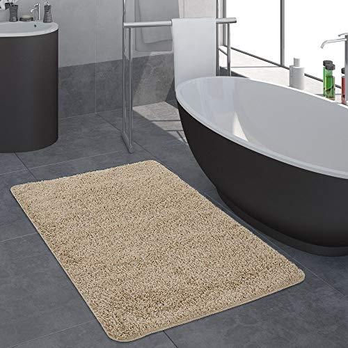 Tappeto bagno moderno monocolore pelo lungo tappeto da bagno antiscivolo beige, dimensione:80x150 cm