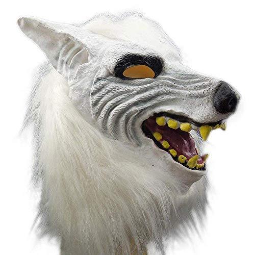 YaPin Halloween Maske Erwachsene Terror Teufel Kostüm Party Requisiten Maske Kind Weiß Voller Kopf Wolf Kopf Abdeckung (Friendly Skies Für Erwachsenen Kostüm)