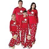 VICGREY ❤ Pigiami Famiglia Coordinati Manica Lunga Babbo Natale Pigiama Top Pantaloni Biancheria da Notte Pajama Set per Bambini di Famiglia papà Mamma