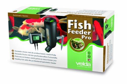 Velda 124817 Futterautomat für Teichfische, 4 Futterschnecken zur Fütterung von Flocken oder Granulaten, 3 Liter, Fish Feeder Pro -