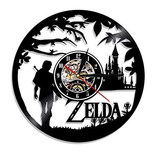 mebeaty Vinyl-Schallplatte Wanduhr Legend of Zelda Runde Hohl Vinyl-Material Home Dekoration Uhr für Kinder Schlafzimmer, Wohnzimmer, Küche, Bad, 12 '', sed-438