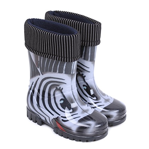 Demar Boys Girls Wellington Boots Rain Snow Wellies PVC Liners Zebra Black