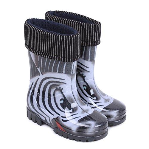Demar Boys Girls Wellington Boots Rain Snow Wellies PVC Liners Zebra Black