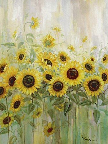 Artland Poster Kunstdruck Wand-Bild Fine-Art-Print in Galeriequalität Reproduktionen Prieur Sonnenblumenwiese Botanik Blumen Sonnenblume Malerei Gelb 80 x 60 x 0,1 cm A6NN -