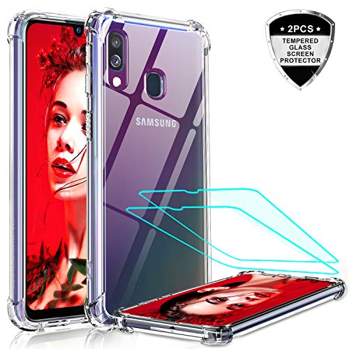 LeYi für Samsung Galaxy A40 Hülle mit Panzerglas Schutzfolie(2 Stück), Neu Handyhülle Transparent Cover Hard PC Air Cushion Bumper Schutzhülle Handy Hüllen für Case Samsung Galaxy A40 Crystal Clear