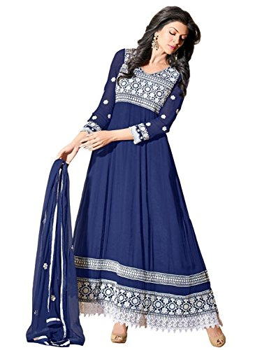 Clickedia Women's Heavy Georgette Semi-stitched Blue White Embroidered Floor Length Anarkali Suit - Dress Material  available at amazon for Rs.599