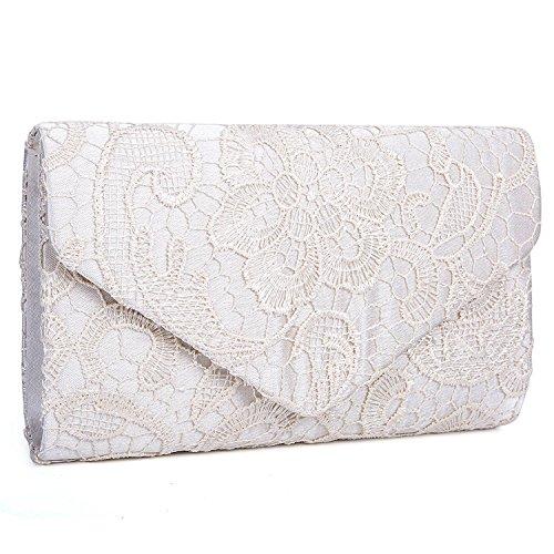 EULovelyPrice Damen Elegant Spitze Umschlag Clutches Abendtasche Party Hochzeit Handtaschen Beige