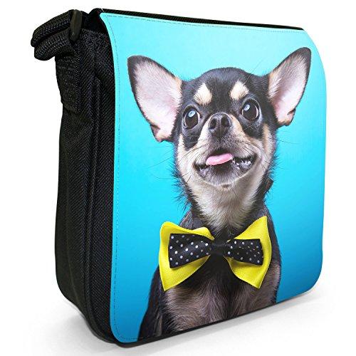 Messicano Taco Bell cane Chihuahua Piccolo Nero Tela Borsa a tracolla, taglia S Chihuahua Wears Yellow Bow Tie