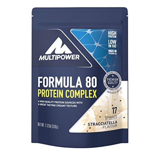 Multipower Formula 80 Protein Complex - Mehrkomponenten Protein Pulver für den Muskelaufbau - Proteinpulver mit Casein für eine langfristige Versorgung - mit cremigem Stracciatella Geschmack - 510 g