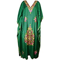 Mogul Interior Womens Kaftan Green Embroidered House Dress Boho Caftan XL