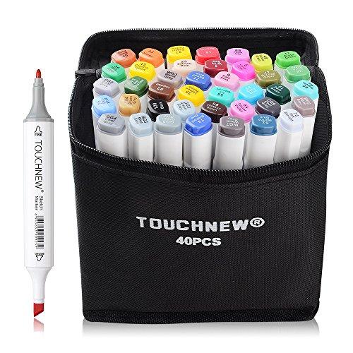 40 Set Farbe TOUCHNEW Marker Pen Set Zeichnung Malerei Kunst Dual Tip Sketch Pen Kunst Sketch Twin Tip Design mit Tragen Bag-Lightwish