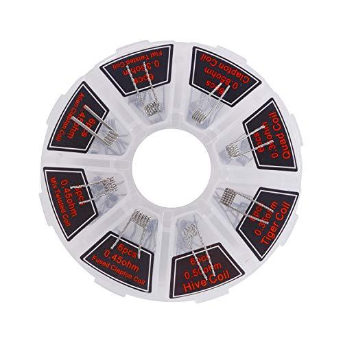 Neihou 48 Pack 8 in 1 Vorgefertigten Vorgefertigte Spulen Draht, 8 Stile Für Elektronische Zigaretten-Ecig-Zerstäuber | 0.36, 0.45, 0.50, 0.85 Ohm (Nikotinfrei MEHRWEG/ ET012N)