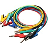 M.Way 5x Labor Kabel 4mm 1M Bananenstecker Kroko Krokodilklemme Messleitung Prüfkabel