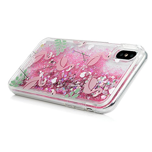 YOKIRIN Schutzhülle für iPhone X Hard Case Cover Hülle Handyhülle Premium Farbmalerei Treibsand TPU Rahmen PC Hardcase Schlanke Hülle Handyhülle Handytasche Etui Protective Backcover Schale Handycase  Grünes Blatt Flamingo
