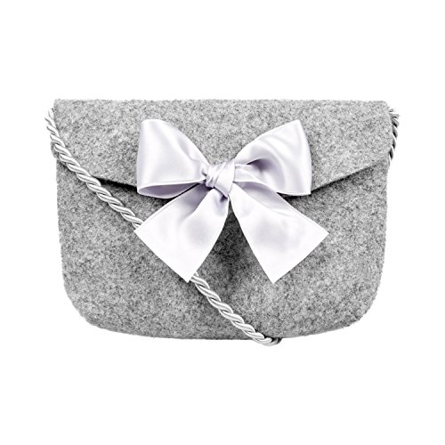 Almbock Trachten-Tasche Lilly in grau - Trachtentasche handmade, handgemacht, aus 100% echtem Wollfilz, Tasche mit Schleife (Bestickt Schleife Rosa)