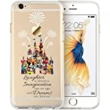 Cartoon Movie Character Themed Fan Art Mobile Phone CLEAR Hybrid TPU Surround with Hard Back Cover Case Disney Castle for iPhone 5/5s - FREE Screen Protector included!