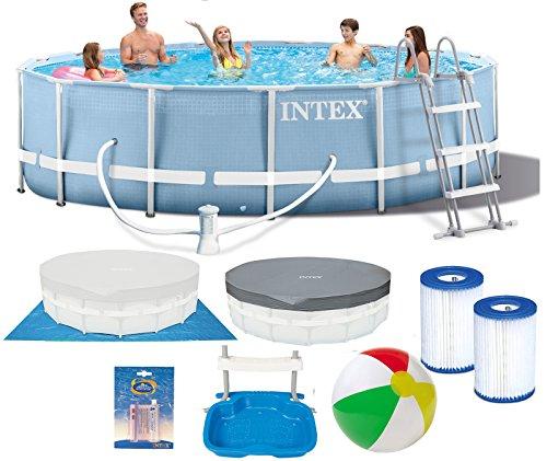 INTEX 457 x 84cm Prism Metal Frame Swimming Pool Schwimmbecken 28728 Komplett-Set mit Extra-Zubehör wie: Filterkartusche, Reparaturset, Strandball und Fußbad