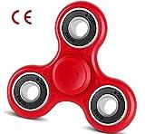 HENGSONG Spinner Fidget Hand Toys Tri Finger Spielzeug für Kinder und Erwachsene Geschenke 2-3 Minute Spinnzeit verbessert 608 Kugellager mit CE (Rot)