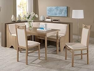 Eckbankgruppe saron noce décor beige ensemble 2 chaises pour table, banc d'angle avec salle à manger table banc banc avec compartiment de rangement