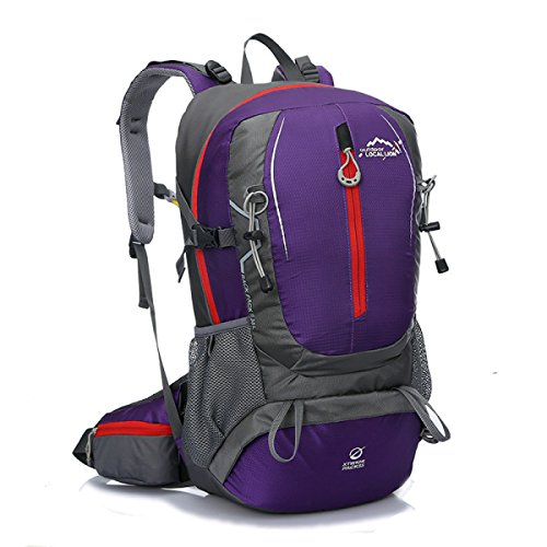 Unisex Wandern Rucksack Wasserdicht Schulter Tasche 40L Purple