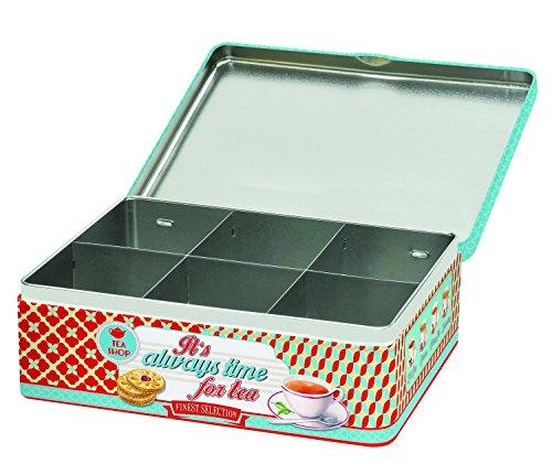 R2S 079muestreo Caja de té de Metal, 22x 14x 21cm, Multicolor