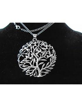 MEDALLION GRÖSSE Silber Keltischer Baum des Lebens Kettenanhänger 64 mm Höhe & 57 mm Durchmesser, 925 Silber....