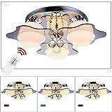 VINGO® LED 21W RGB Kristall Deckenleuchte Warmweiss Wohnraum E27 Panel Deckenlampe Wandlampe Deckenbeleuchtung mit Fernbedienung