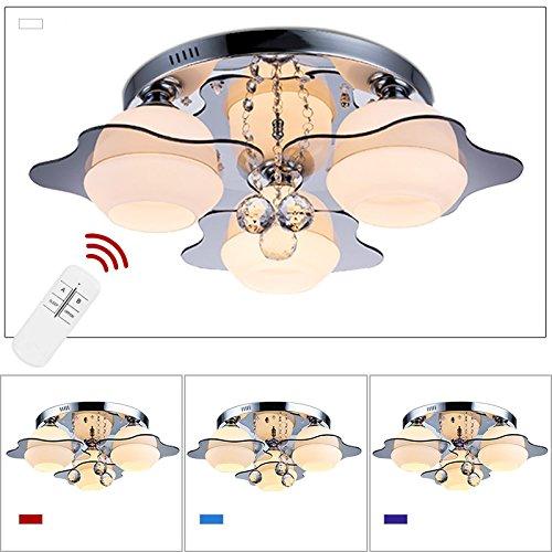 Burg 3 Licht Kronleuchter (VINGO® LED 21W RGB Kristall Deckenleuchte Warmweiss Wohnraum E27 Panel Deckenlampe Wandlampe Deckenbeleuchtung mit Fernbedienung)