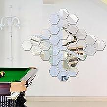 FAMILIZO 12pcs 3D DIY Desmontable Espejo De Vinilo De HexáGono De Vinilo DecoracióN De La Etiqueta De La Etiqueta De Casa DecoracióN (Plata)