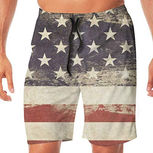 Jhonangel Retro Vintage amerikanische USA Flagge Herren Boy Badehose 3D Print schnell trocknend Sommer Surf Beach Board Shorts mit Mesh Futter L