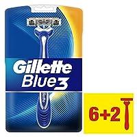 Gillette Blue3 Men'S Disposable Razors, 6+2 Count