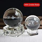 Klinkamz - Bola de Cristal en Miniatura con Sistema Solar 3D, diseño de Planetas Grabados, Ideal como Regalo para decoración del hogar, Crystal Base