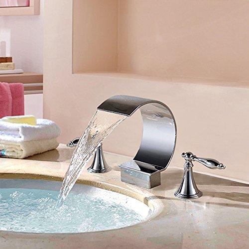 Waschtischarmatur Chrom Massivem Messing Bad Dual Griff DREI Loch Mischbatterien Warmes Und Kaltes Wasser Becken Wasserfall Wasserhahn,ChromeFaucet -
