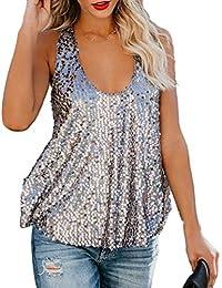 Haobing Mujer Chaleco de Lentejuelas Brillante Tirantes Casual Camisa Blusa  Cuello Halter Tops 46f7b31d34d1