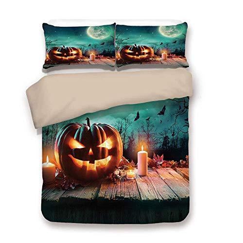 et, Halloween, Fantastic Magic Night Gruselige Atmosphäre Kerzen Kürbis auf Holzbohlen drucken, Multicolor, dekorativ 3 Stück Bettwäsche-Set von 2 Pillow Shams King Size ()