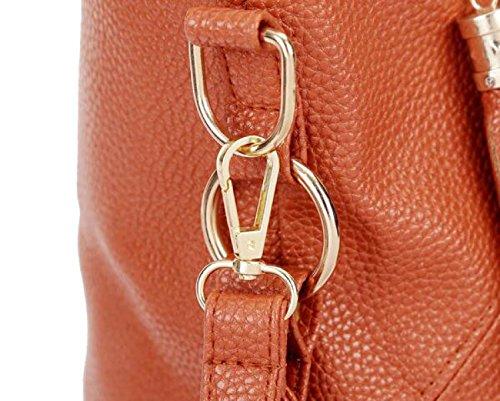 Womens Handtaschen Damen Designer Schultertasche PU Leder Fächer Tote New Style Large Brown