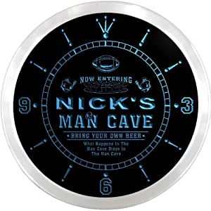 ncqa0309-b NICK'S Football Man Cave Beer Pub LED Neon Sign Wall Clock