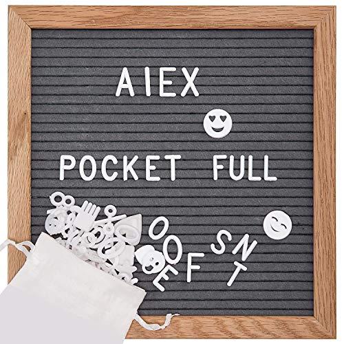 Verstellbarer Runder Café Tisch (AIEX 10 x 10 Zoll Square Letter Board Holz und Grau Filz veränderbar Buchstaben Board mit 350 Buchstaben Staffelei und Drawstring Bag für Home Kitchen Classroom)