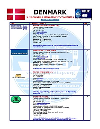 Ship Owner & Management Company Details In Denmark: Email , Office Address, Telephone, Mobile & Others (English Edition)
