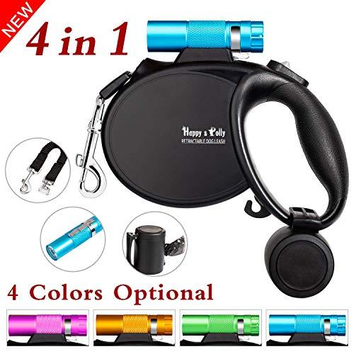 Happy & Polly Hundeleine kleine Hunde 5m Seil-Roll-Leine 4 in 1 mit Ruckdämpfer Hundekotbeutel SpenderAnti-Rutsch-Griff und Super helle Taschenlampe - Blau