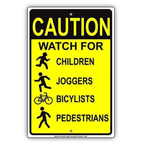 GFGKKGJFD Vorsicht Uhr für Kinder Jogger Radfahrer Fußgänger Warnhinweis lustiges Metallschild Aluminium Blechschild Deko 20,3 x 30,5 cm